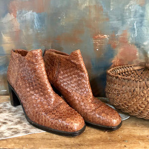 Cole Haan Woven Brown Leather Booties 10 B